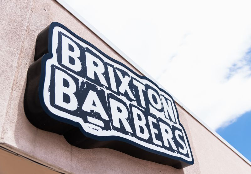 Brixton Barbers Storefront Sign